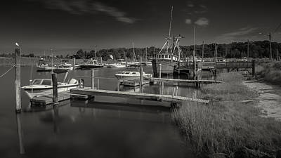 Rock Harbor Fishing Boats Black And White Photography Poster