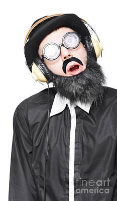 Rock Man Listening To Metal Music On Headphones Poster