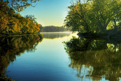 Rock River Autumn Morning Poster