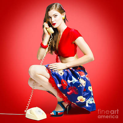 Rockabilly Gal Talking The Talk On Old Telephone Poster
