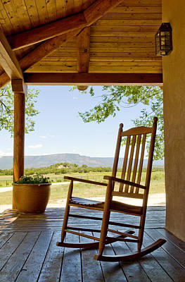 Rocking Chair At Ranch House Porch Poster by Nicolas Russell