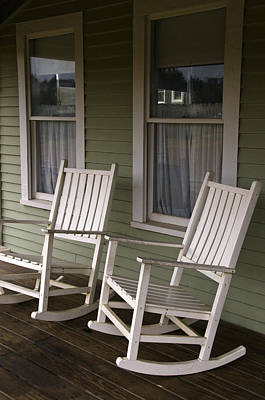 Rocking Chairs On The Porch Poster by Todd Gipstein
