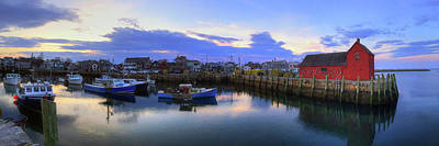 Poster featuring the photograph Rockport Harbor Sunset Panoramic With Motif No1 by Joann Vitali