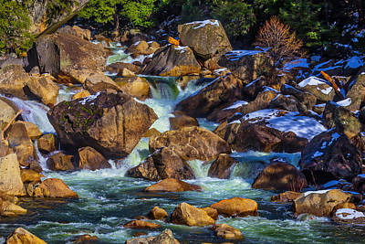 Rocks In The Merced River Poster by Garry Gay