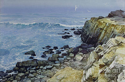 Poster featuring the painting Rocky Beach by Sergey Zhiboedov