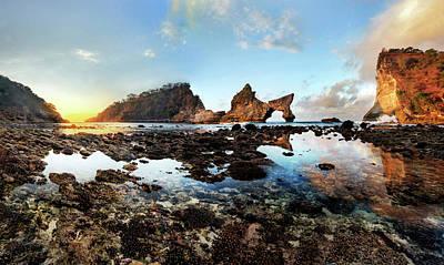 Rocky Beach Sunrise, Bali Poster