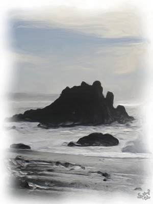 Poster featuring the painting Rocky Coast Newport Oregon by Shelley Bain