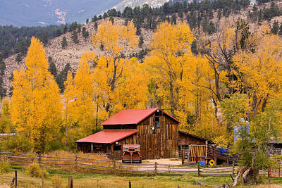 Rocky Mountain Autumn Ranch Landscape Poster by James BO  Insogna