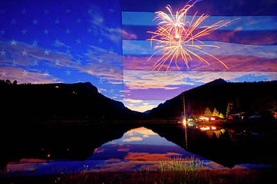 Rocky Mountains American Fireworks Show Poster