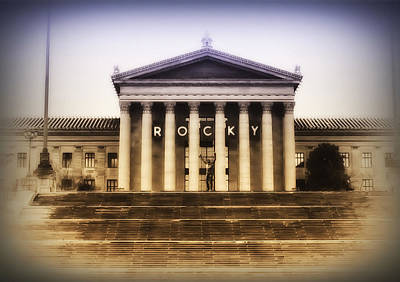 Rocky On The Art Museum Steps Poster by Bill Cannon