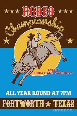 Rodeo Cowboy Bull Riding Poster Poster by Aloysius Patrimonio