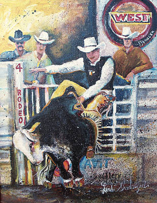 Poster featuring the painting Rodeo Ride by Linda Shackelford