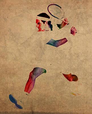 Roger Federer Watercolor Portrait On Worn Canvas Poster