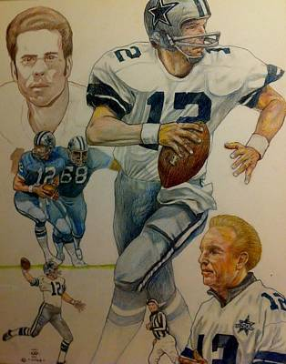 Roger Staubach Montage Poster by Nigel Wynter