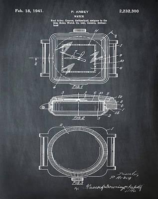 Rolex Watch Patent 1941 In Chalk Poster