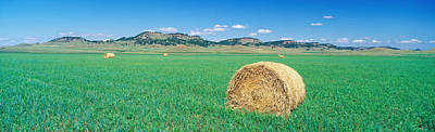 Rolled Hay Bale In Field With Hills Poster by Panoramic Images