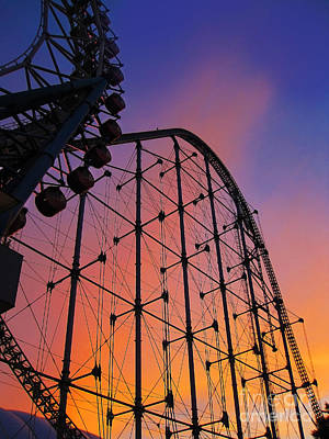 Roller Coaster At Sunset Poster by Eena Bo