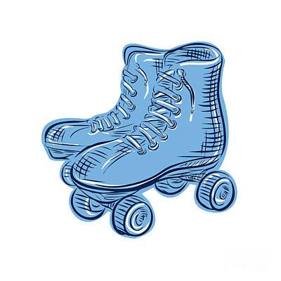 Roller Skates Vintage Etching Poster by Aloysius Patrimonio