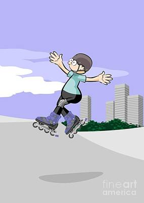 Rollerblader Kid Jumping In The Skate Park Poster