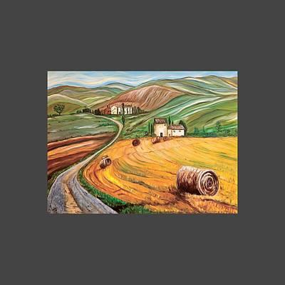 Rolling Fields Of Tuscany Poster by Anupama Arora Mallik
