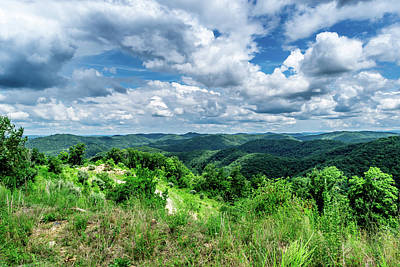 Rolling Hills And Puffy Clouds Poster