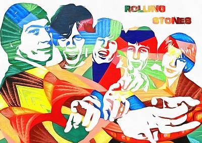 Rolling Stones Colorful Abstract Poster by Dan Sproul