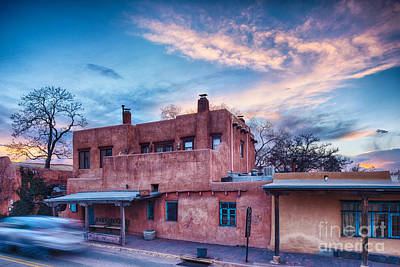 Rolling Through The Streets Of Santa Fe At Sunset - The City Different New Mexico Poster by Silvio Ligutti