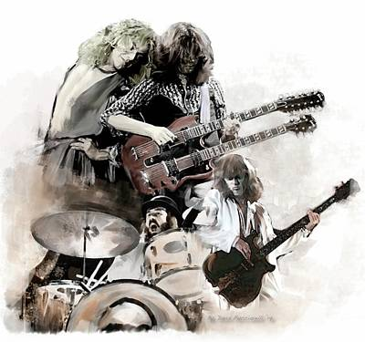 Poster featuring the painting Rolling Thunder Led Zeppelin by Iconic Images Art Gallery David Pucciarelli