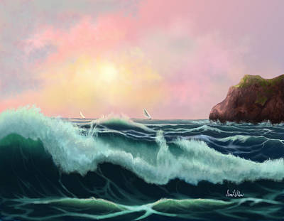 Poster featuring the painting Rolling Waves by Sena Wilson