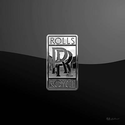 Rolls Royce - 3d Badge On Black Poster by Serge Averbukh