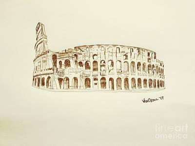 Roman Colosseum Ancient Ruins - Vintage Poster