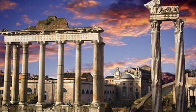 Roman Forum On Fire Poster