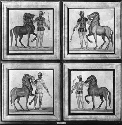 Roman Mosaic: Charioteers Poster