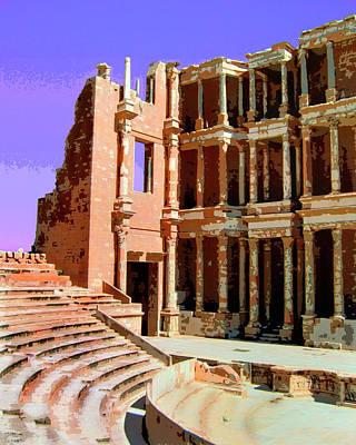 Roman Ruins At Sabrayha Poster by Dominic Piperata