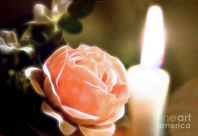 Poster featuring the digital art Romance In A Peach Rose by Linda Phelps