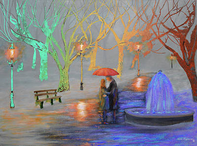 Romance In A Colorful Park Poster by Ken Figurski