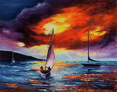 Poster featuring the painting Romancing The Sail by Darice Machel McGuire