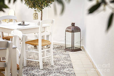 Romantic Courtyard In Greece Poster