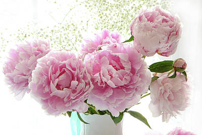 Romantic Dreamy Shabby Chic Cottage Pink Peonies Print - Peony Bouquet White Vase Poster