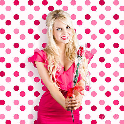 Romantic Girlfriend Receiving Rose From Valentine Poster by Jorgo Photography - Wall Art Gallery