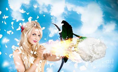 Romantic Goddess Of Love Shooting Magic Rose Poster