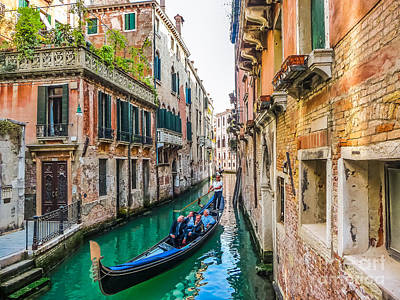 Romantic Gondola Scene On Canal In Venice Poster