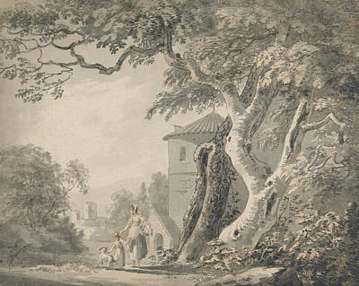 Romantic Landscape With Figures And A Dog Poster