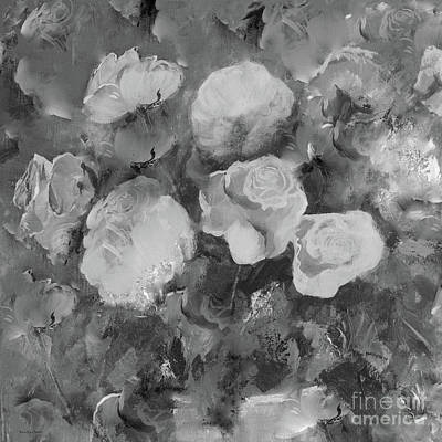 Poster featuring the painting Romantic Large Roses  by Robin Maria Pedrero