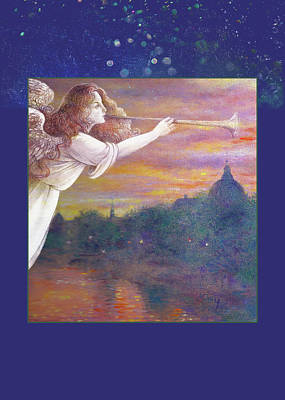Romantic Paris Nocturne With Angel Poster