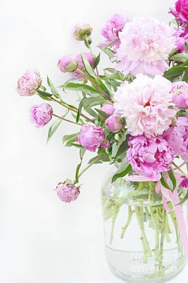 Romantic Pastel Summer Garden Pink Peonies In Jar - Romantic Shabby Pink Peonies Summer Garden Decor Poster