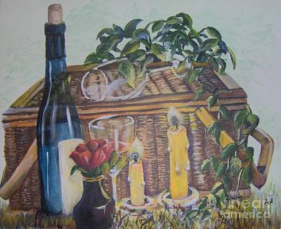 Poster featuring the painting Romantic Picnic by Saundra Johnson