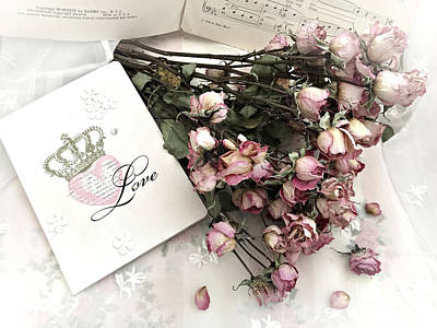 Poster featuring the photograph Romantic Pink Roses With Love Book - Shabby Chic Romantic Roses Love Books Decor Still Life  by Kathy Fornal