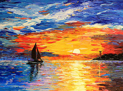 Poster featuring the painting Romantic Sea Sunset by Georgeta  Blanaru