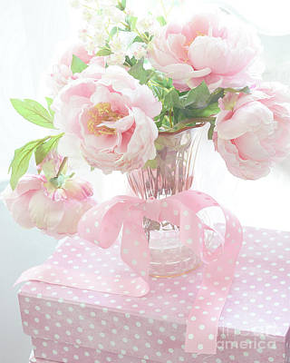 Romantic Shabby Chic Pink Pastel Peonies - Shabby Chic Peony Floral Decor Poster